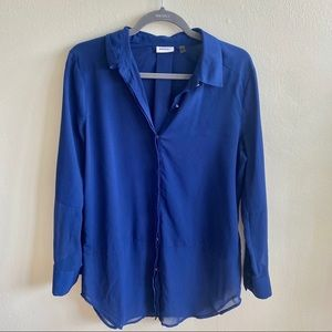 DKNY Navy Blue Long Sleeve Blouse Sz M